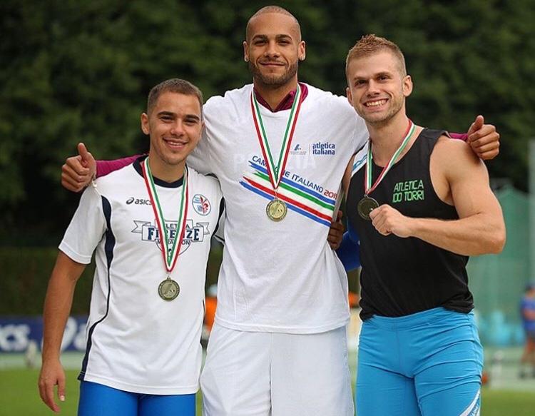 Podio dei 100m con Luca Antonio Cassano- Marcell Jacobs-Luca lai, da sinistra verso destra.